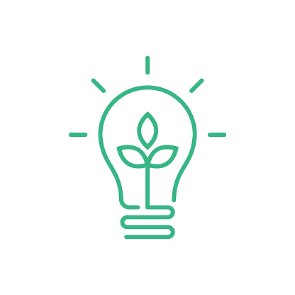 Green lightbulb with leaf inside. Clean energy concept.