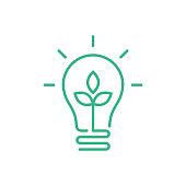 istock Green lightbulb with leaf inside. Clean energy concept. 1300839614