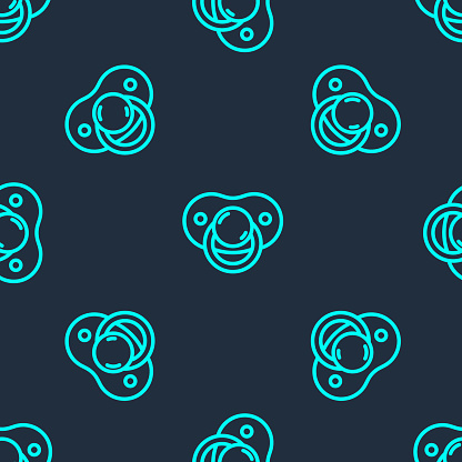Green line Baby dummy pacifier icon isolated seamless pattern on blue background. Toy of a child. Vector