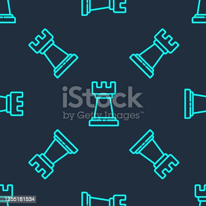 Green line Business strategy icon isolated seamless pattern on blue background. Chess symbol. Game, management, finance. Vector Illustration