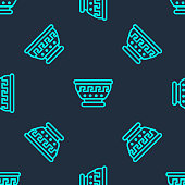Green line Greek ancient bowl icon isolated seamless pattern on blue background. Antique amphora with patterns collection. Ancient Greece bowl. Vector.
