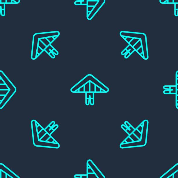ilustrações, clipart, desenhos animados e ícones de linha verde ícone do planador hang isolado padrão perfeito no fundo azul. esporte extremo. ilustração vetorial - ícones de design planar
