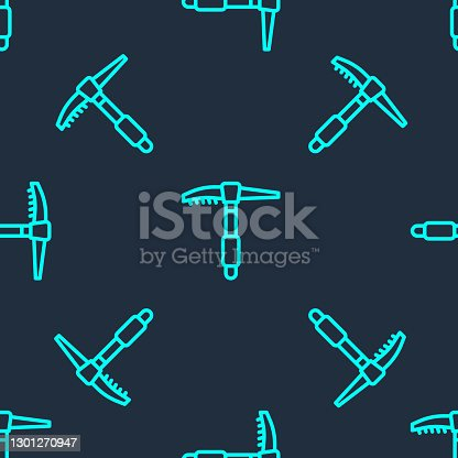 istock Green line Ice axe icon isolated seamless pattern on blue background. Montain climbing equipment. Vector 1301270947