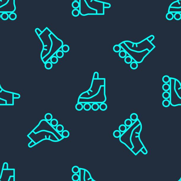 ilustrações, clipart, desenhos animados e ícones de linha verde ícone de patins de patins isolado padrão perfeito no fundo azul. ilustração vetorial - ícones de design planar