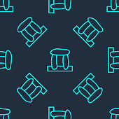 Green line Stonehenge icon isolated seamless pattern on blue background. Vector.