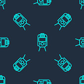 Green line Tram and railway icon isolated seamless pattern on blue background. Public transportation symbol. Vector.
