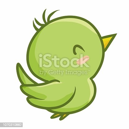 Funny and cute green little bird simling happily - vector