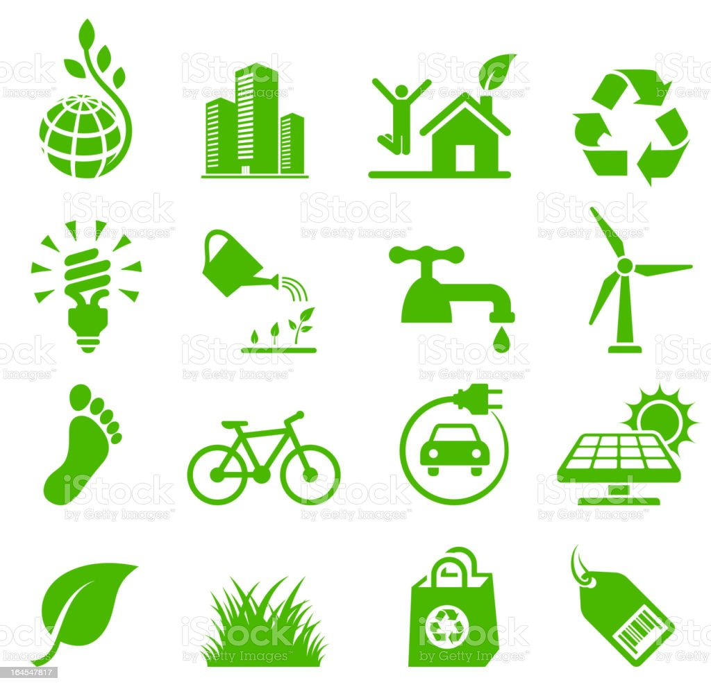 Green Living Environmental conservation and recycling vector icon set vector art illustration