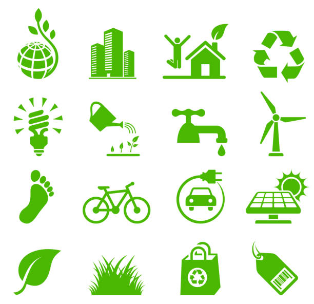 green living environmental conservation and recycling vector icon set - energy saving stock illustrations, clip art, cartoons, & icons