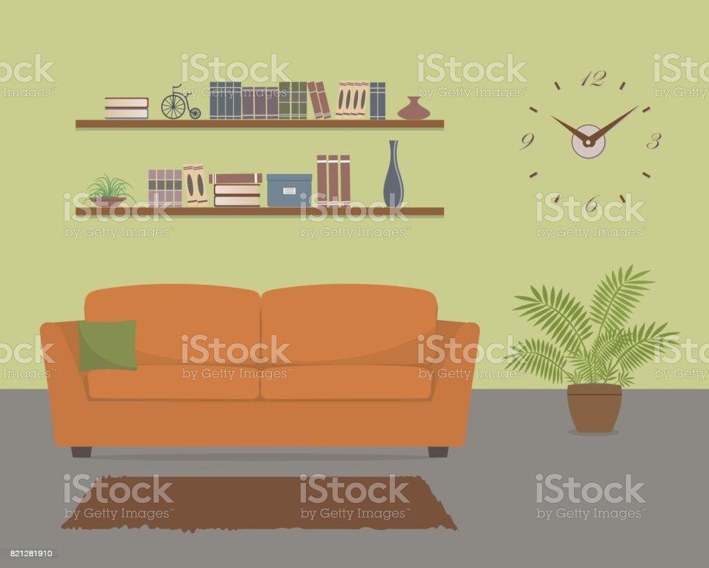 Grüne Wohnzimmer Mit Orange Sofa Und Große Uhr An Der Wand Stock ...
