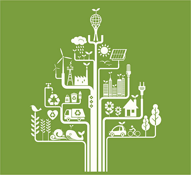 Green Living Green living concept. Zip contains AI, PDF and hi-res Jpeg. energy efficient stock illustrations