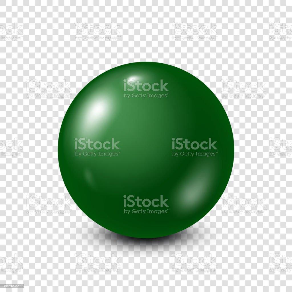 Green lottery, billiard,pool ball. Snooker. Transparent background. Vector illustration vector art illustration