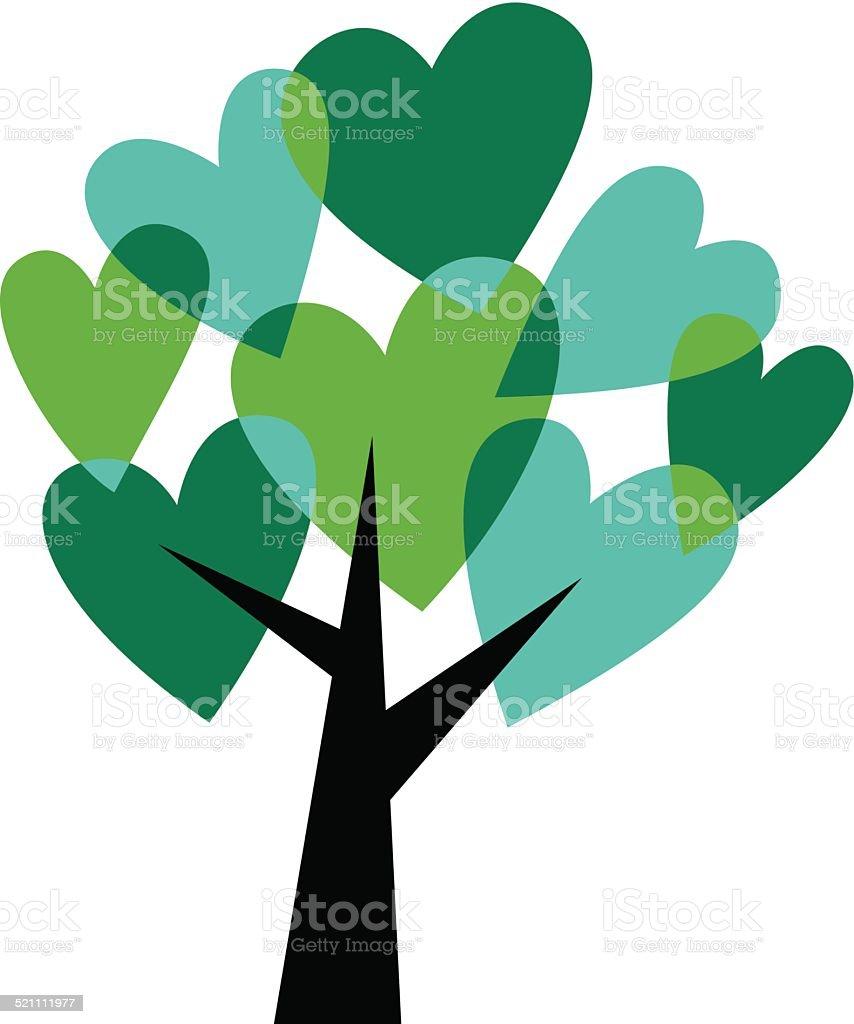 Green love tree vector art illustration