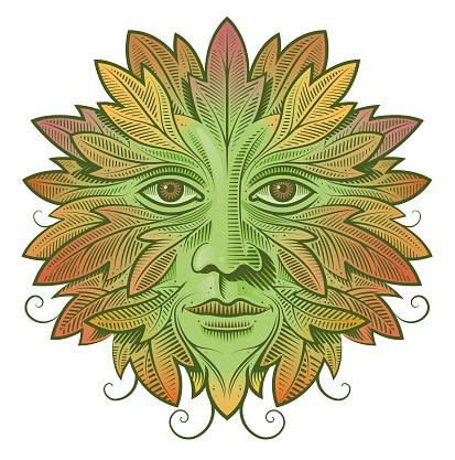 Green man autumn foliage
