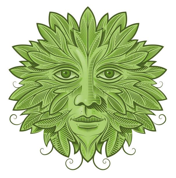 Green man illustration vector art illustration