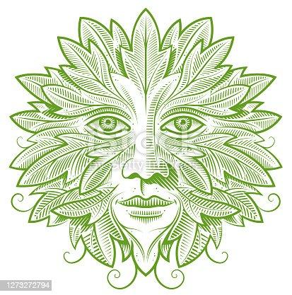 A green man, an ancient folkloric concept.
