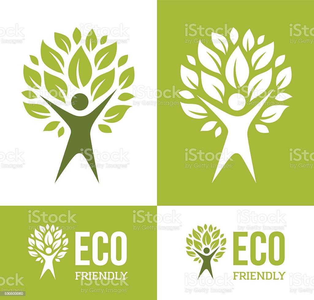 Green Man Tree vector art illustration