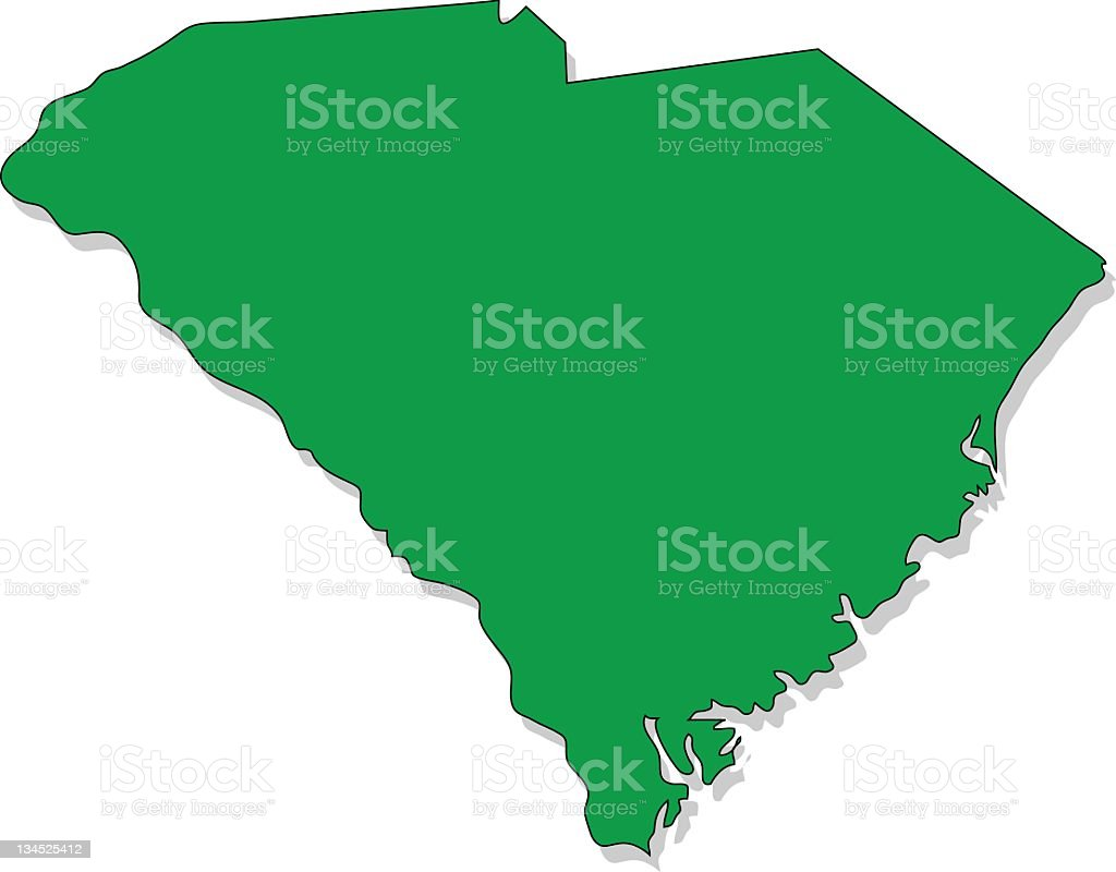 Green map image of South Carolina on a white backing royalty-free stock vector art
