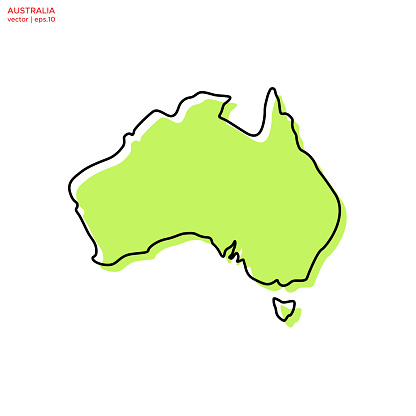 Green Map of Australia With Outline Vector Illustration Design Template. Vector eps 10.
