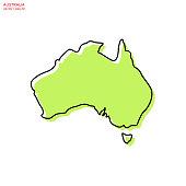istock Green Map of Australia With Outline Vector Illustration Design Template. Editable Stroke. 1276540154