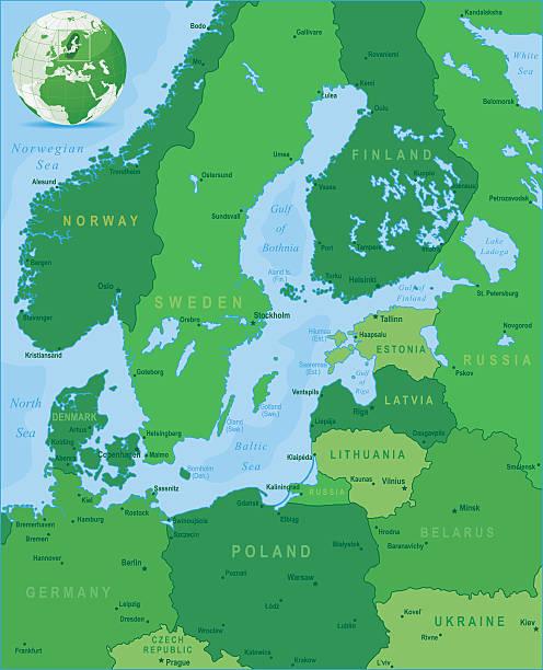 grüne karte der ostsee-staaten und die städte der umgebung - ostsee stock-grafiken, -clipart, -cartoons und -symbole
