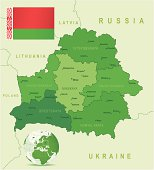 Green Map of Belarus - states, cities and flag