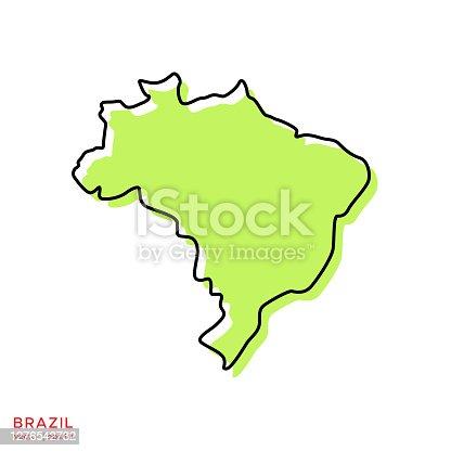 istock Green Map of Brazil With Outline Vector Illustration Design Template. Editable Stroke. 1276542732