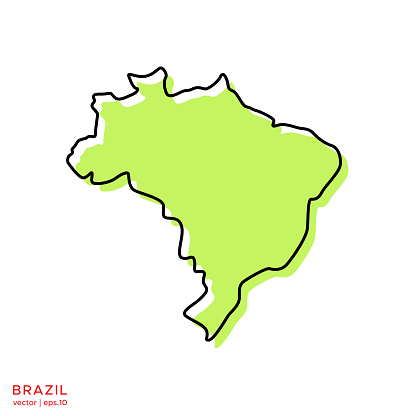 Green Map of Brazil With Outline Vector Illustration Design Template. Vector eps 10.