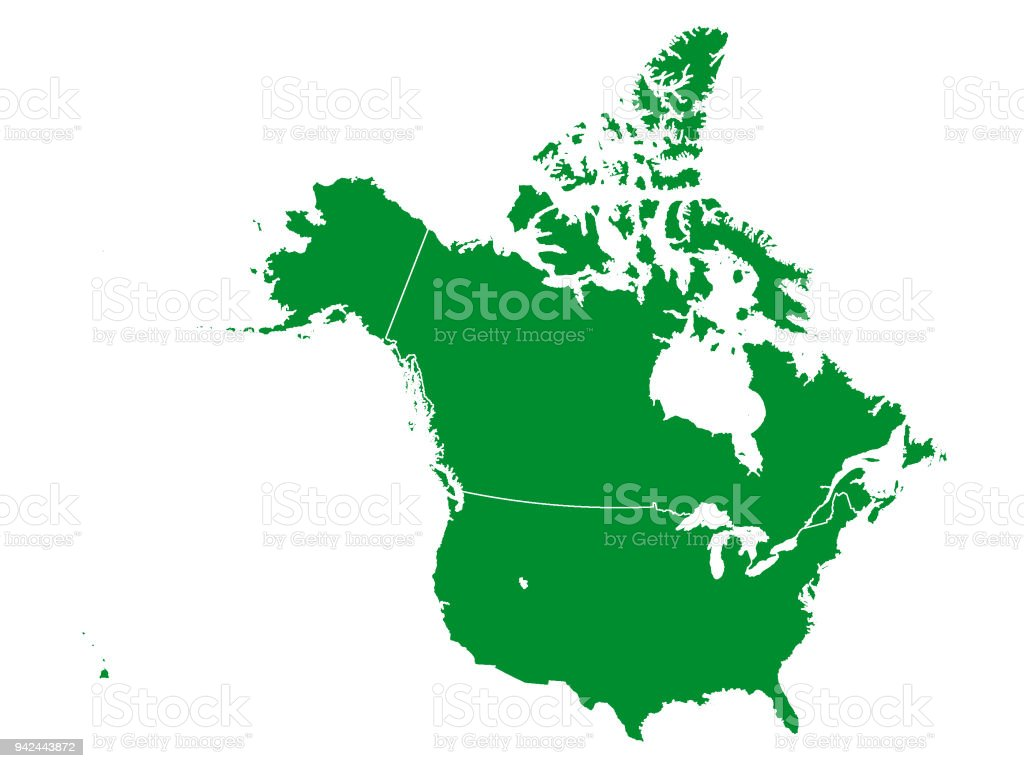 Green Map Of Canada And Usa Stock Vector Art More Images Of Alaska