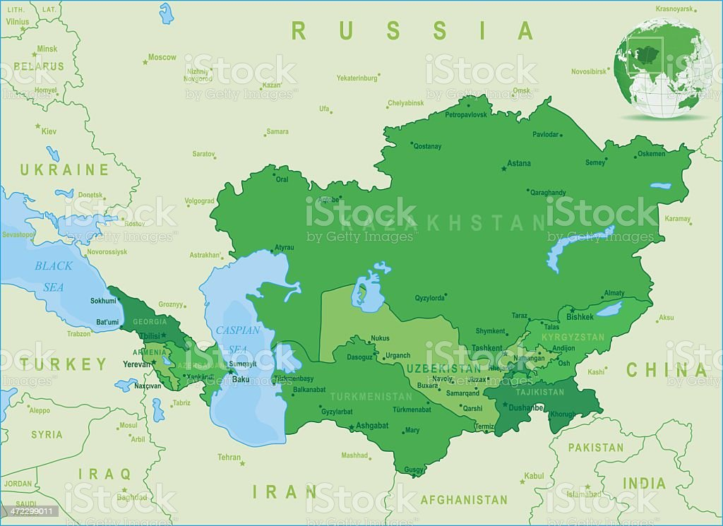 Green Map of Caucasus and Central Asia - states, cities royalty-free stock vector art