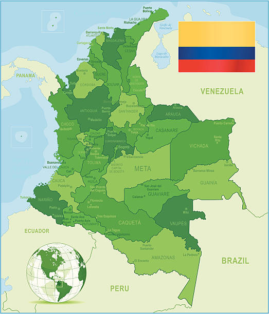 bildbanksillustrationer, clip art samt tecknat material och ikoner med green map of colombia - states, cities and flag - departementet chocó colombia