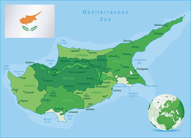grüne karte der zypern-staaten, städte und flagge - paphos stock-grafiken, -clipart, -cartoons und -symbole