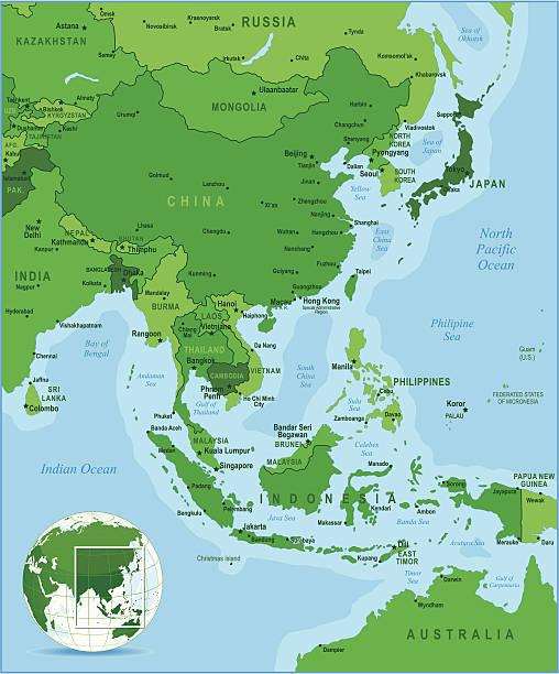 stockillustraties, clipart, cartoons en iconen met green map of east asia - myanmar