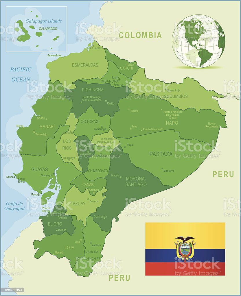 Green Mapa do Equador-Membros, cidades, bandeira - ilustração de arte em vetor