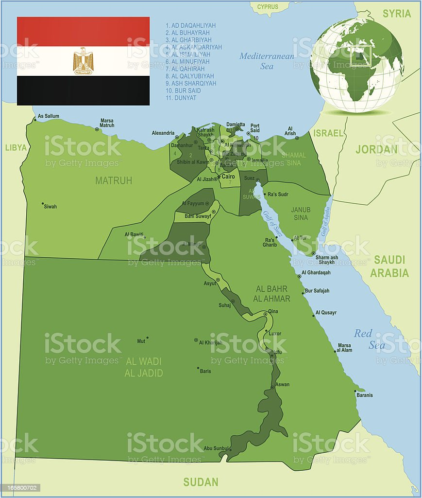 Green Map of Egypt - states, cities and flag