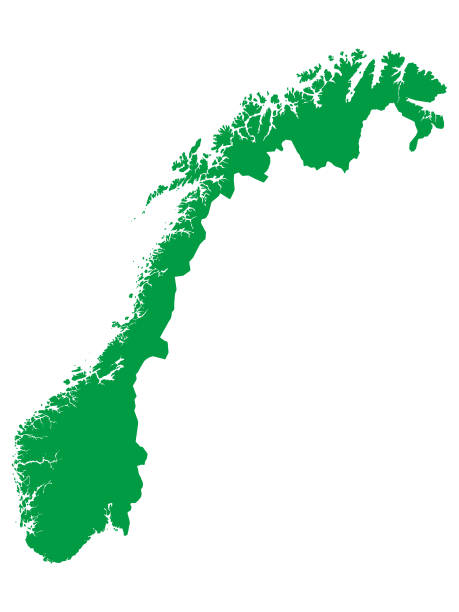Green Map of European Country of Norway Vector Illustration of a Green Map of European Country of Norway norway stock illustrations