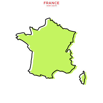 Green Map of France With Outline Vector Illustration Design Template. Vector eps 10.