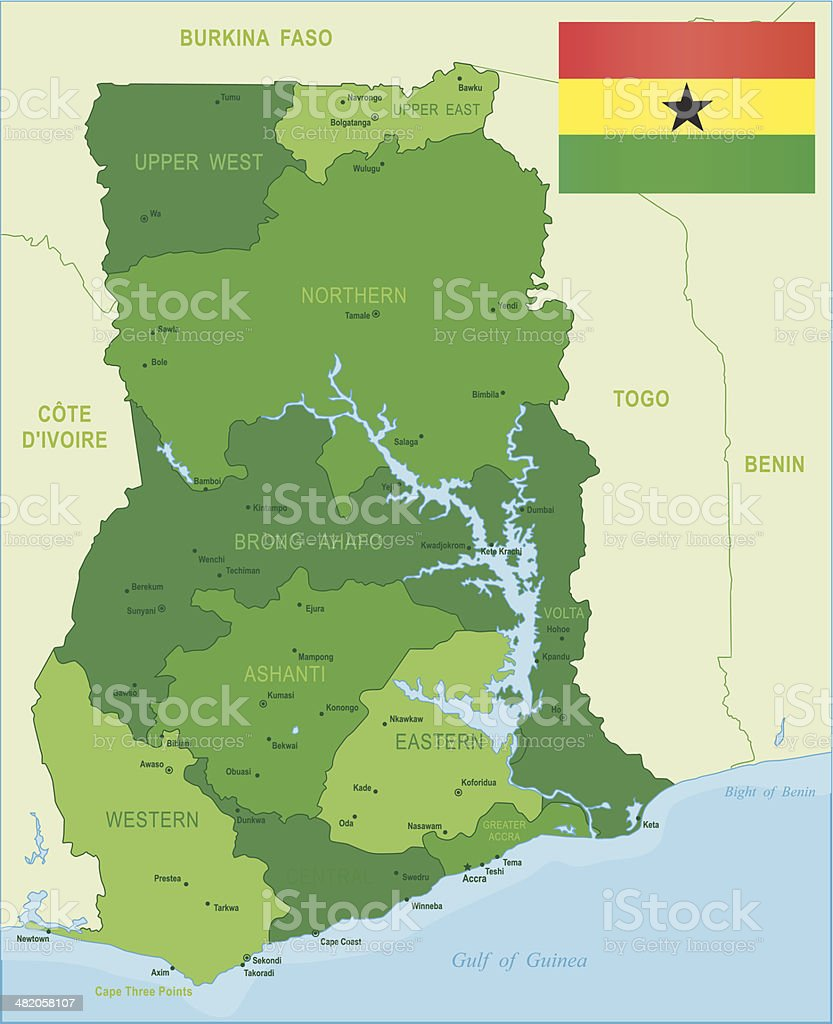 Green Map Of Ghana States Cities And Flag Stock Vector Art More