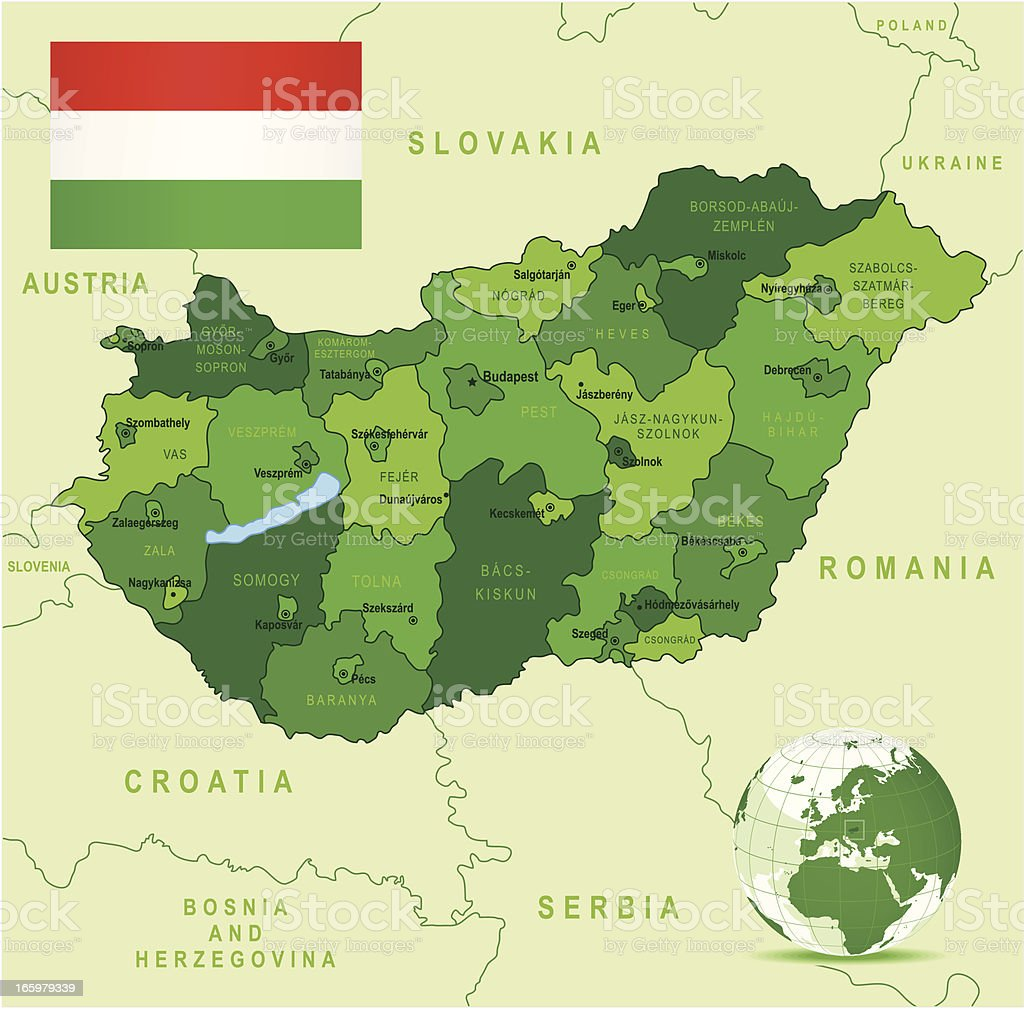 Green Map of Hungary - states, cities and flag vector art illustration