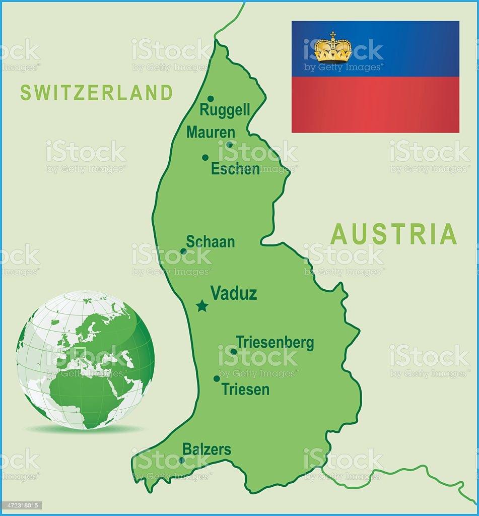 Green Map Of Liechtenstein Cities And Flag stock vector art