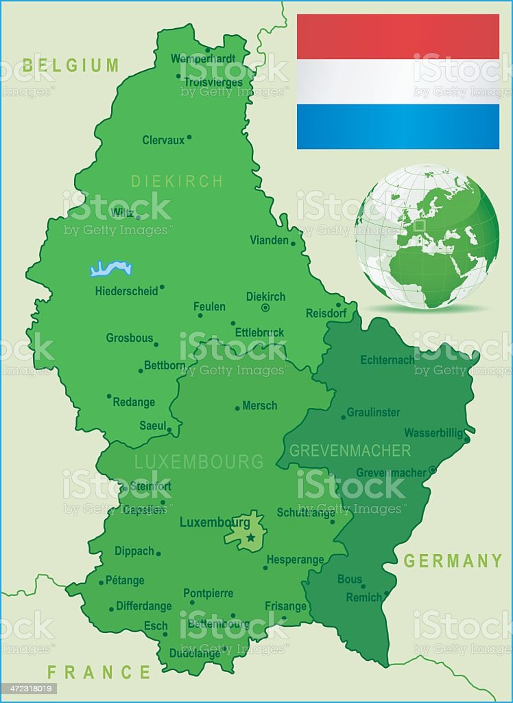 Green map of luxembourg states cities and flag stock vector art globe navigational equipment map navigational equipment world map belgium gumiabroncs Images