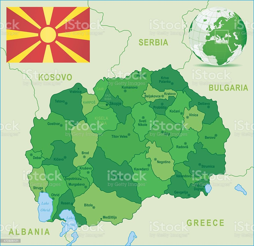 Green Map of Macedonia - states, cities and flag royalty-free stock vector art