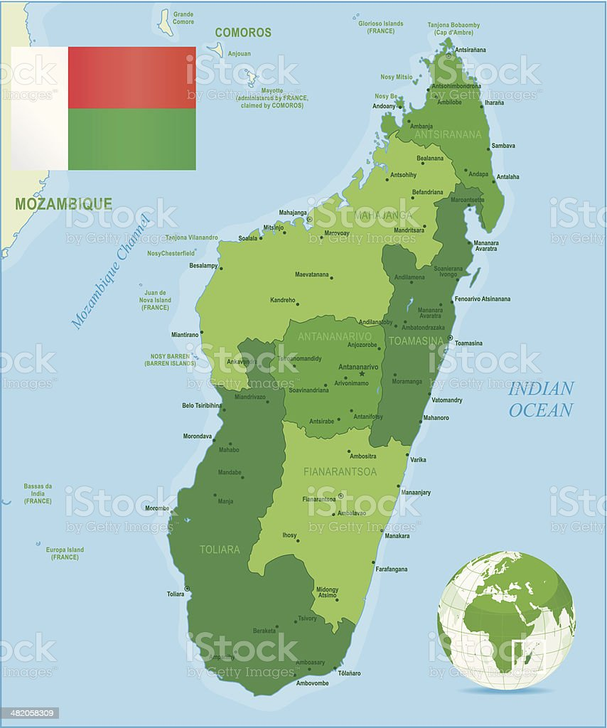 Green Map Of Madagascar States Cities And Flag Stock Vector Art