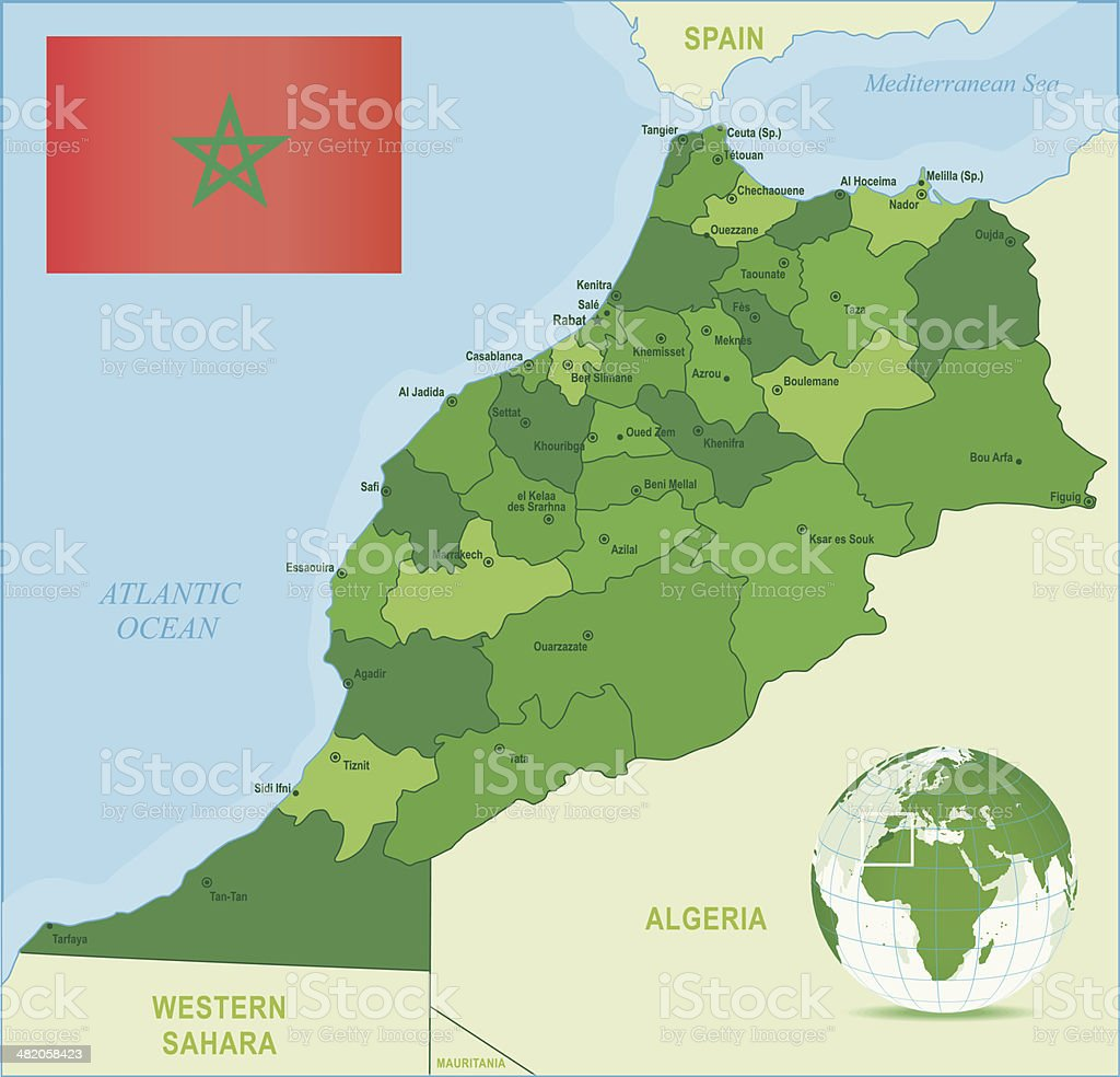 Green Map Of Morocco States Cities And Flag Stock Vector Art