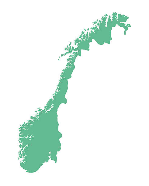 green map of Norway vector map of Norway norway stock illustrations