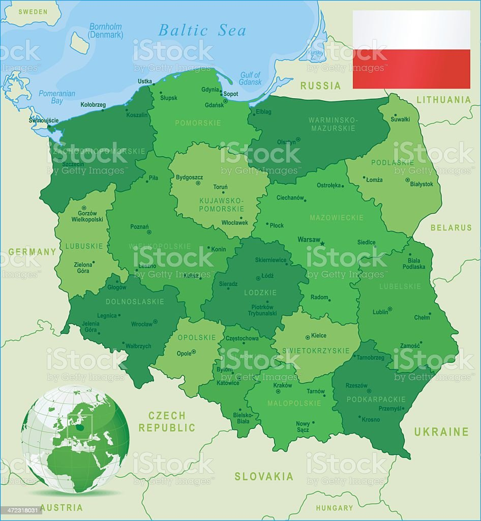 Green Map of Poland - states, cities and flag