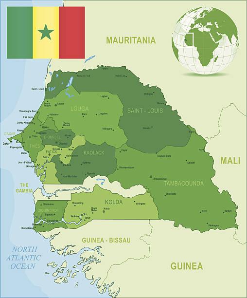 green mapa senegal-członkowskich, miastami i flaga - senegal stock illustrations