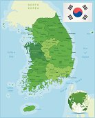 Green Map of South Korea - states, cities and flag