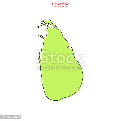istock Green Map of Sri Lanka With Outline Vector Illustration Design Template. Editable Stroke. 1276724525