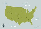 USA green map on sea background